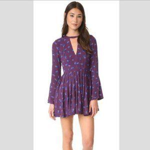 FREE PEOPLE Tegan Printed Mini Dress in Purple - 8